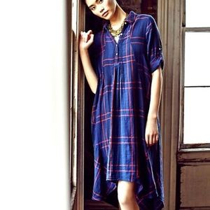 Anthropologie ISABELLA SINCLAIR blue plaid dress S